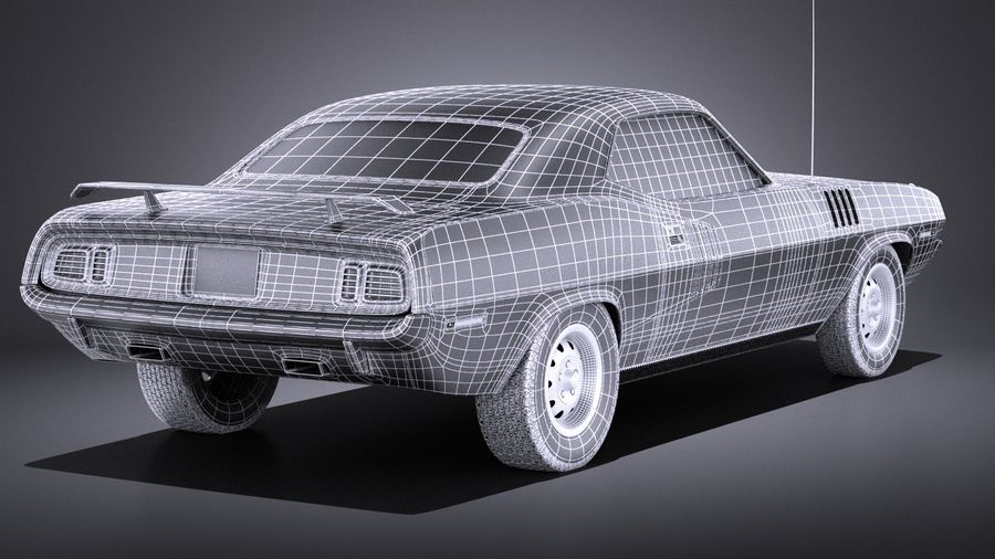 Plymouth Hemi Cuda - Barracuda 1971 VRAY royalty-free 3d model - Preview no. 16