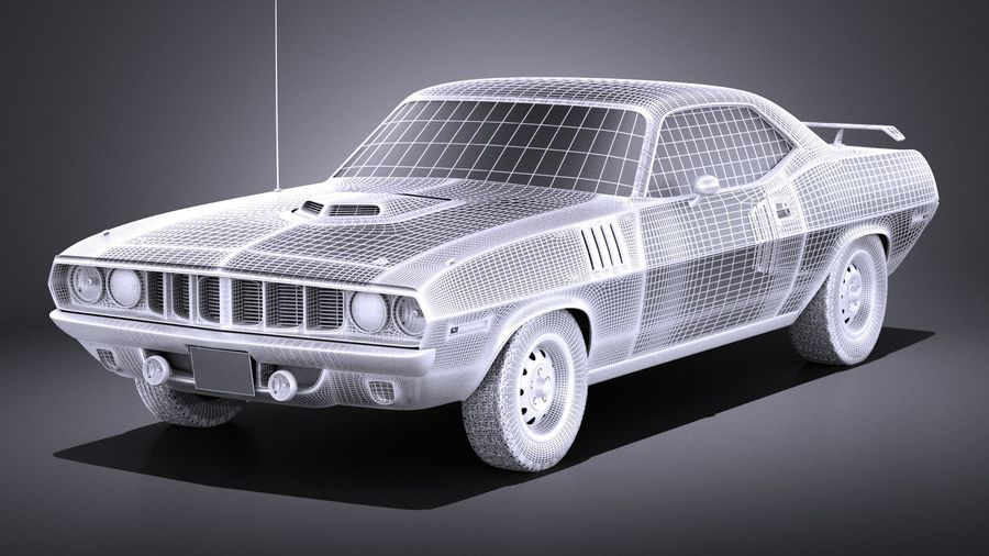 Plymouth Hemi Cuda - Barracuda 1971 VRAY royalty-free 3d model - Preview no. 13