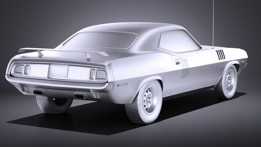 Plymouth Hemi Cuda - Barracuda 1971 VRAY royalty-free 3d model - Preview no. 12