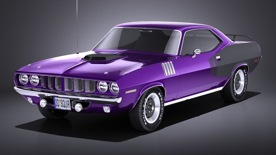 Plymouth Hemi Cuda - Barracuda 1971 VRAY royalty-free 3d model - Preview no. 1