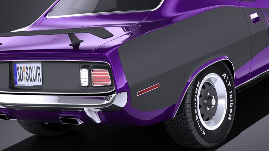 Plymouth Hemi Cuda - Barracuda 1971 VRAY royalty-free 3d model - Preview no. 4