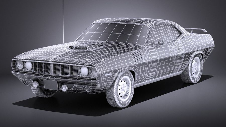 Plymouth Hemi Cuda - Barracuda 1971 VRAY royalty-free 3d model - Preview no. 15