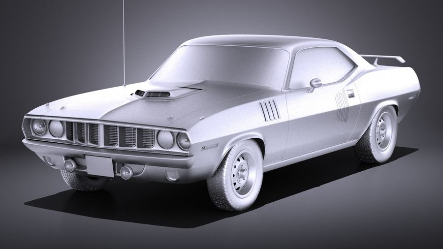 Plymouth Hemi Cuda - Barracuda 1971 VRAY royalty-free 3d model - Preview no. 9