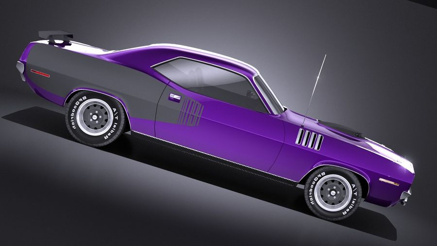Plymouth Hemi Cuda - Barracuda 1971 VRAY royalty-free 3d model - Preview no. 7