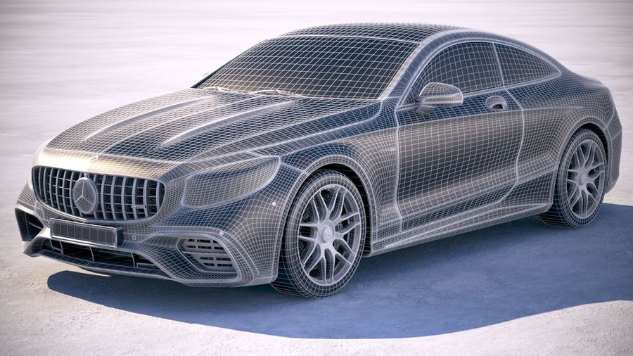 Мерседес S63 AMG купе 2018 royalty-free 3d model - Preview no. 18