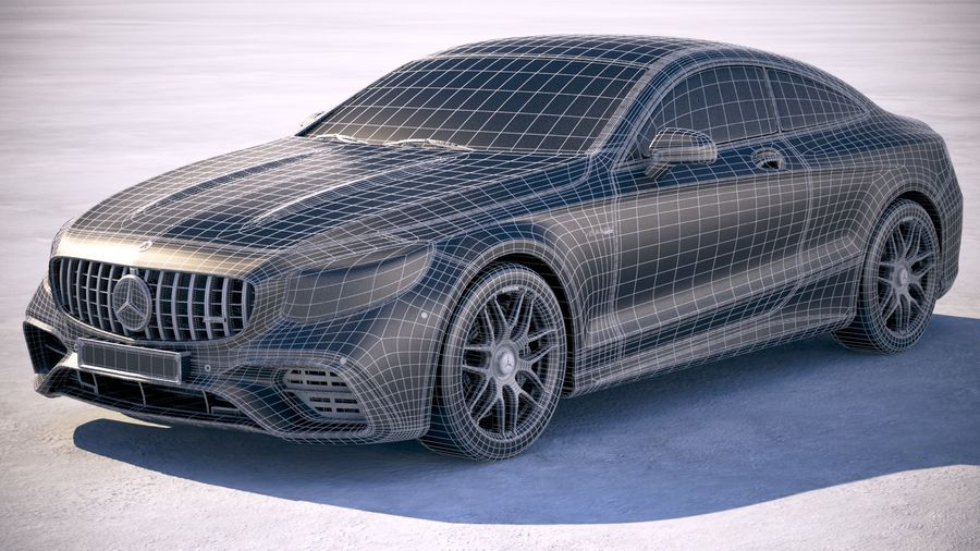 Мерседес S63 AMG купе 2018 royalty-free 3d model - Preview no. 20