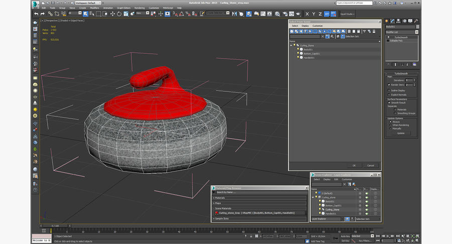Curling Stone royalty-free 3d model - Preview no. 12