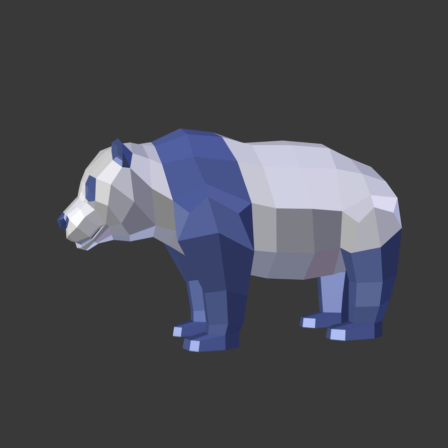Bear_Panda_LOW POLY royalty-free modelo 3d - Preview no. 2