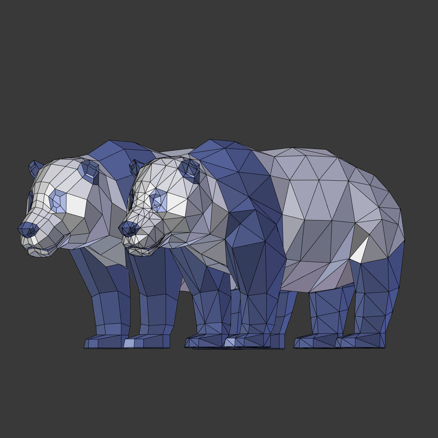 Bear_Panda_LOW POLY royalty-free modelo 3d - Preview no. 24