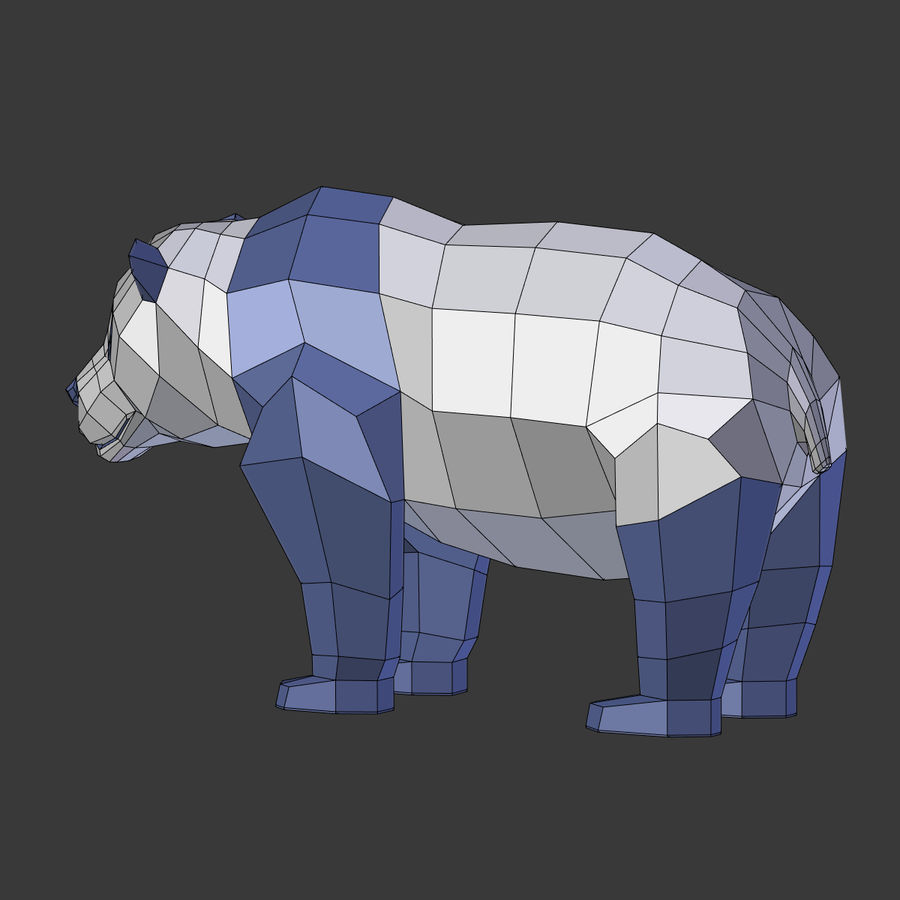 Bear_Panda_LOW POLY royalty-free modelo 3d - Preview no. 20