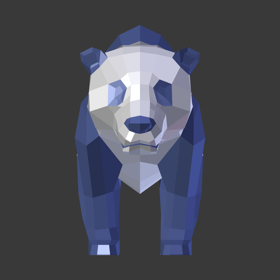 Bear_Panda_LOW POLY royalty-free modelo 3d - Preview no. 11