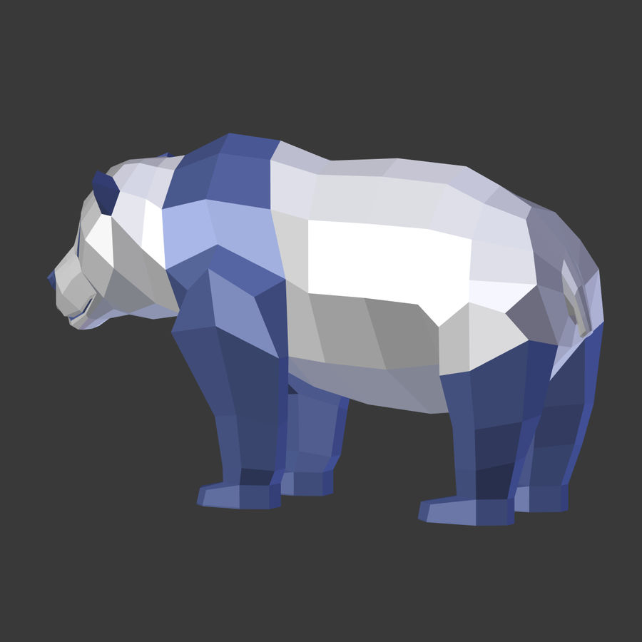 Bear_Panda_LOW POLY royalty-free modelo 3d - Preview no. 19
