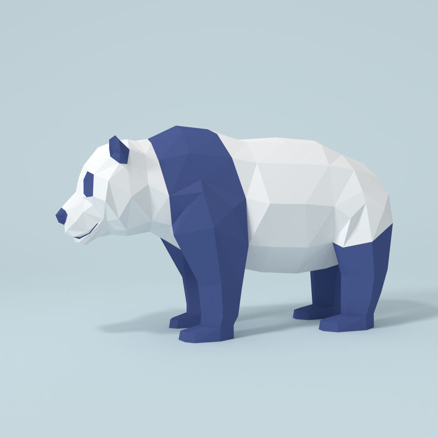 Bear_Panda_LOW POLY royalty-free modelo 3d - Preview no. 1