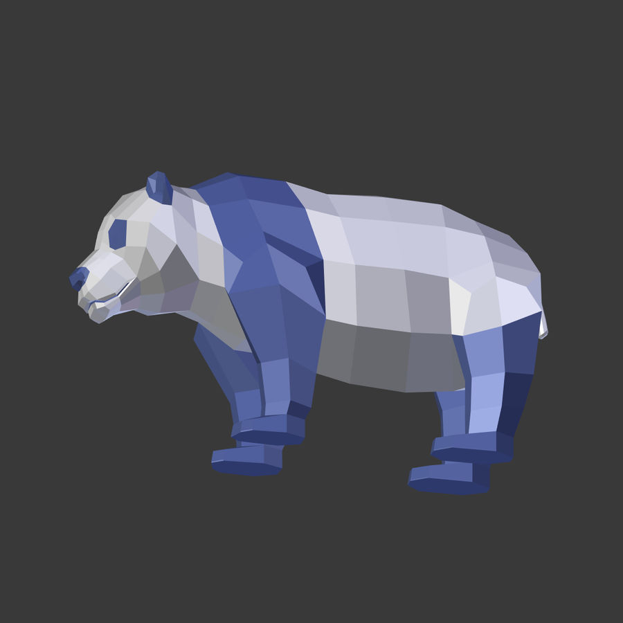 Bear_Panda_LOW POLY royalty-free modelo 3d - Preview no. 21