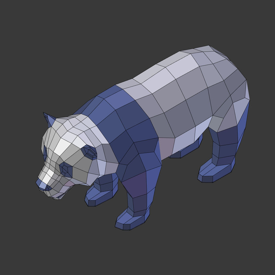 Bear_Panda_LOW POLY royalty-free modelo 3d - Preview no. 10