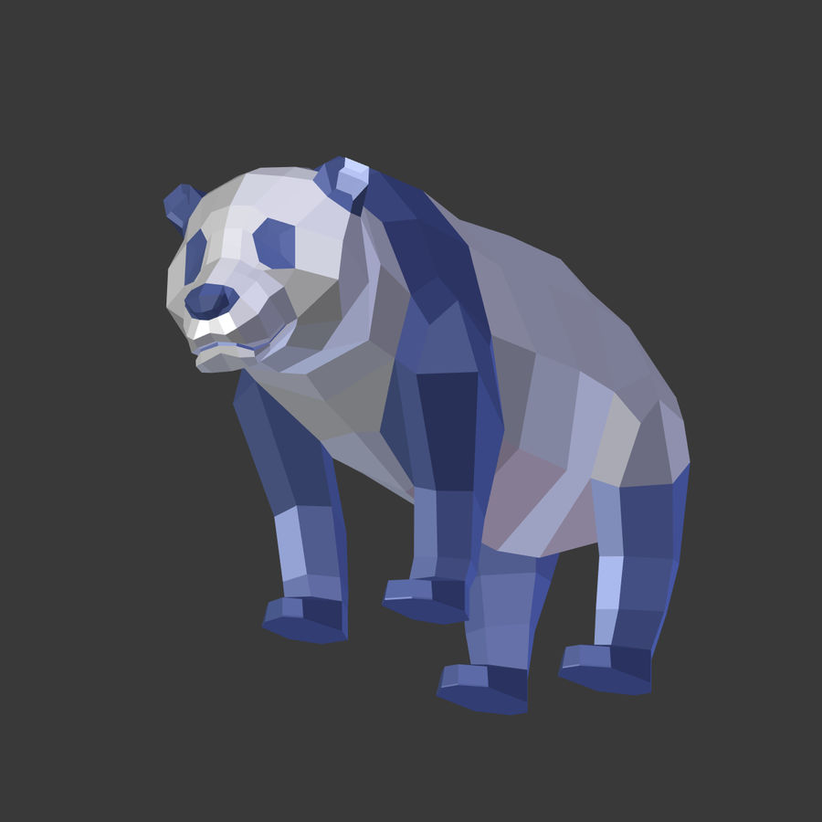 Bear_Panda_LOW POLY royalty-free modelo 3d - Preview no. 17