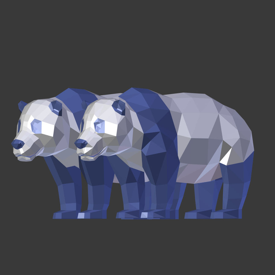Bear_Panda_LOW POLY royalty-free modelo 3d - Preview no. 23