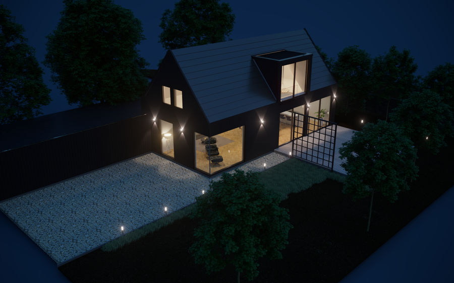 Haus der Hausszene 3D des Corona Nacht- und Tagesmodells royalty-free 3d model - Preview no. 9