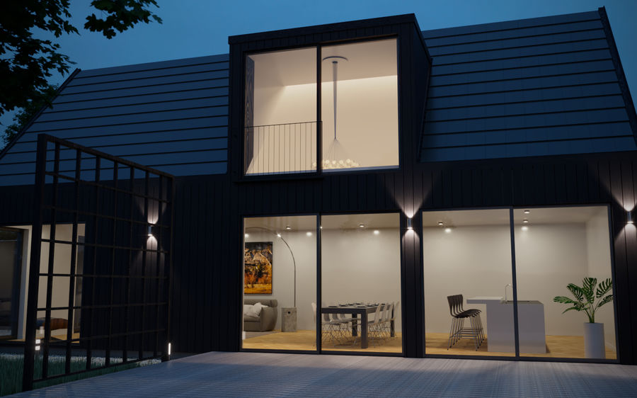 Haus der Hausszene 3D des Corona Nacht- und Tagesmodells royalty-free 3d model - Preview no. 7