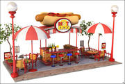 Hot Dog Wagon Cartoon V1 3d model