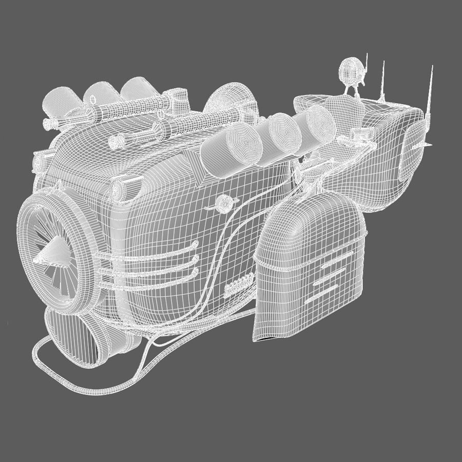 Steampunk Hover Bike (Maya Rigged) royalty-free 3d model - Preview no. 8