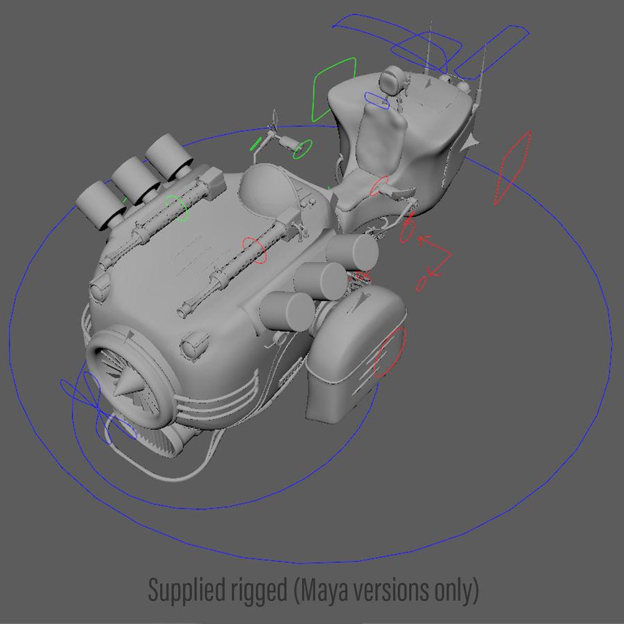 Steampunk Hover Bike (Maya Rigged) royalty-free 3d model - Preview no. 7