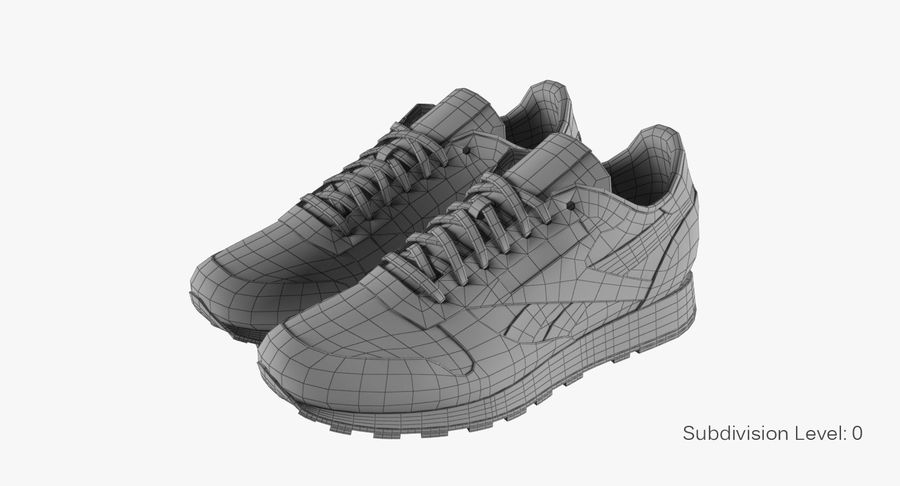 Reebok Classic Leather Shoes 2 royalty-free 3d model - Preview no. 9