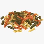Pile de pâtes spirales colorées sèches 3d model