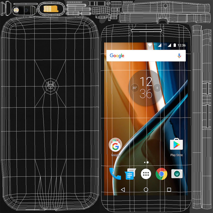 Motorola Moto G4 Black royalty-free 3d model - Preview no. 12