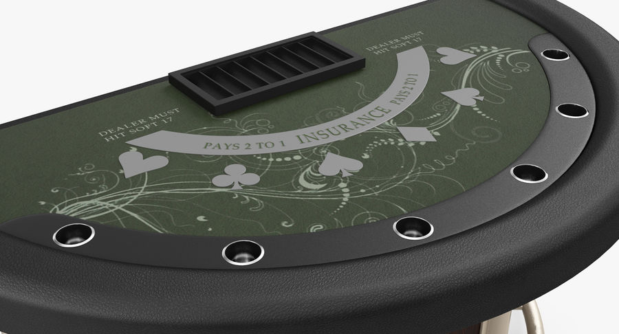Blackjack Table royalty-free 3d model - Preview no. 8