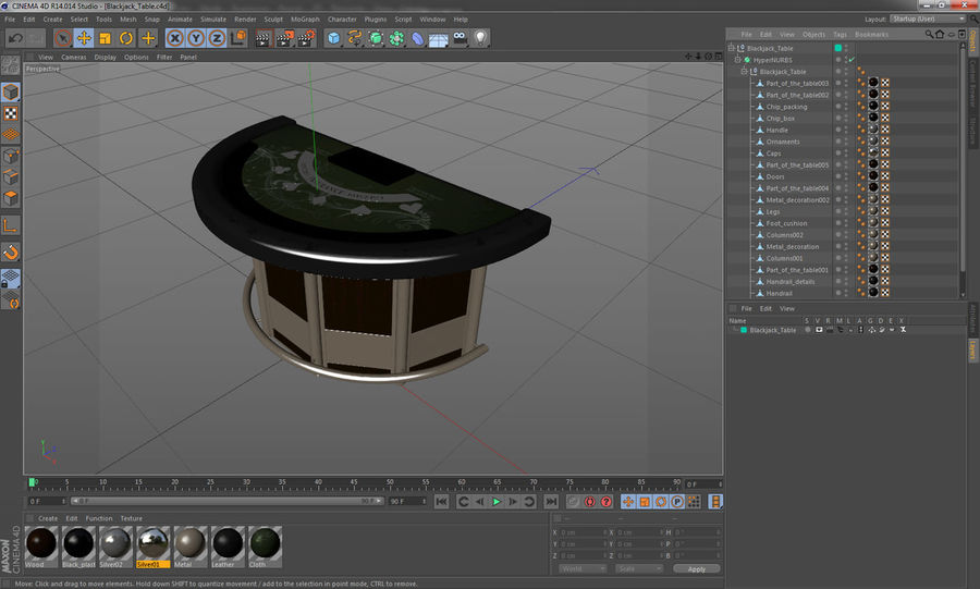 Blackjack Table royalty-free 3d model - Preview no. 15