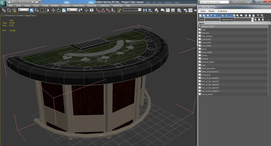 Blackjack Table royalty-free 3d model - Preview no. 13
