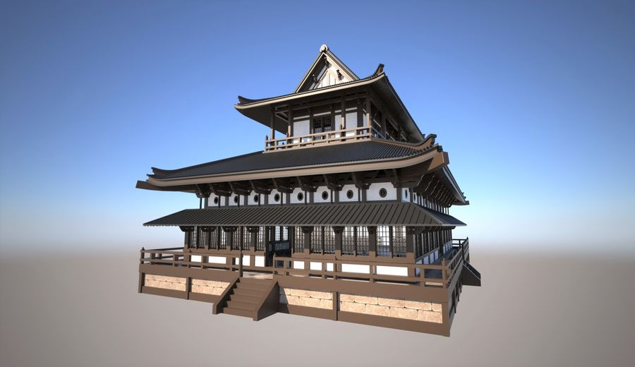 Japońska świątynia tradycyjna royalty-free 3d model - Preview no. 2