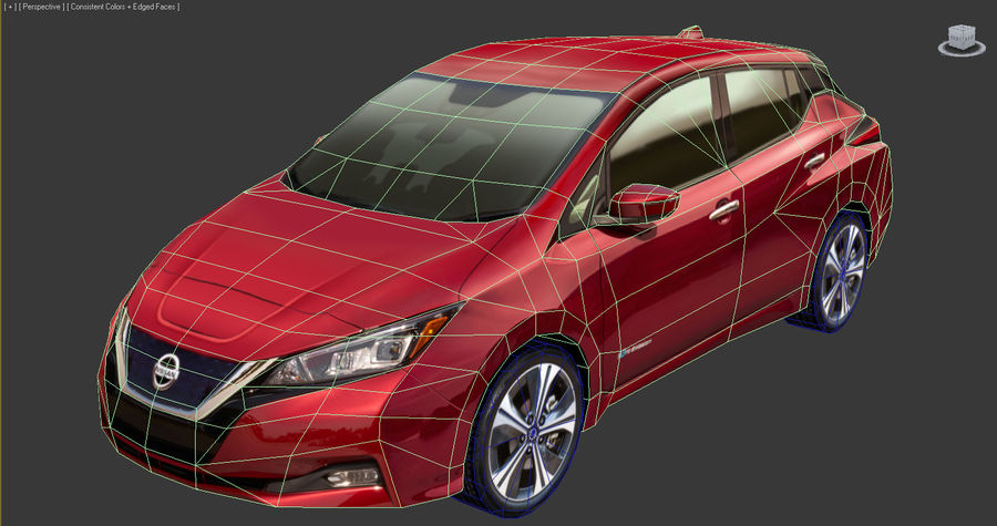 Nissan LEAF 2018 royalty-free 3d model - Preview no. 9