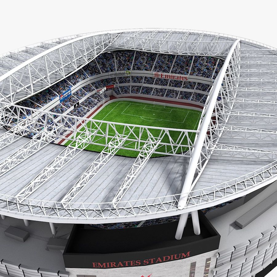 Stadium Lights C4d: Lowpoly Football Stadium (Arsenal Emirates Arena) 3D Model