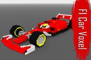 Voxel Racing Car - Low-poly modelo 3d