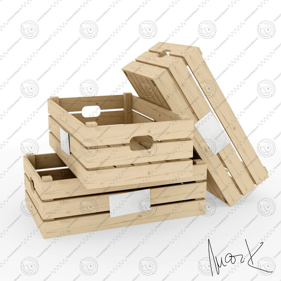 Obstkisten aus Holz royalty-free 3d model - Preview no. 1