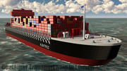 Container Ship Red 3d model
