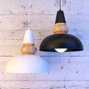 Lampa z drewna i metalu 3d model