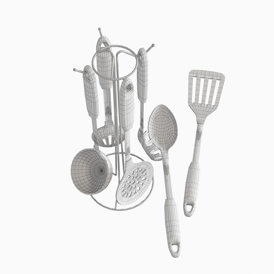 Kitchen Utensils Set accessories royalty-free 3d model - Preview no. 11