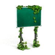 Sinal de estrada coberto de vegetação 1 3d model
