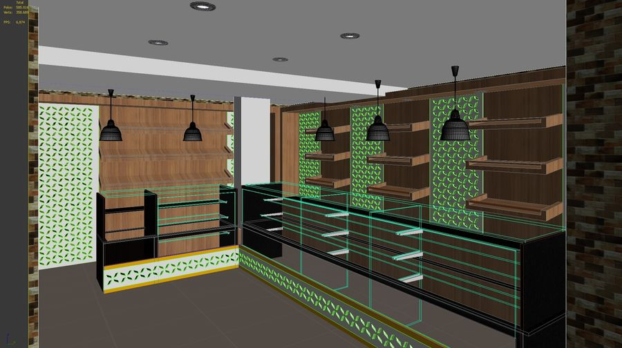 bread Bakery Shop royalty-free 3d model - Preview no. 10