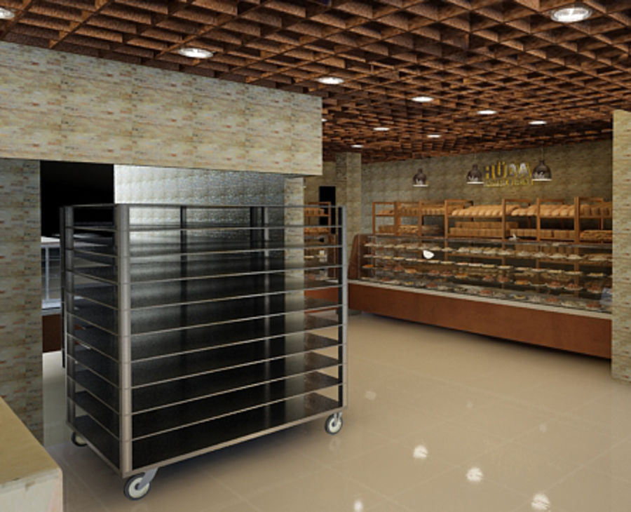 bread Bakery Shop royalty-free 3d model - Preview no. 1