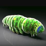 Grön larva av insekt 3d model