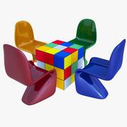 Mesa e cadeira de crianças 3d model