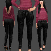 Pantalones negros con lazo modelo 3d