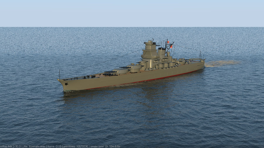 Battleship Yamato royalty-free 3d model - Preview no. 7