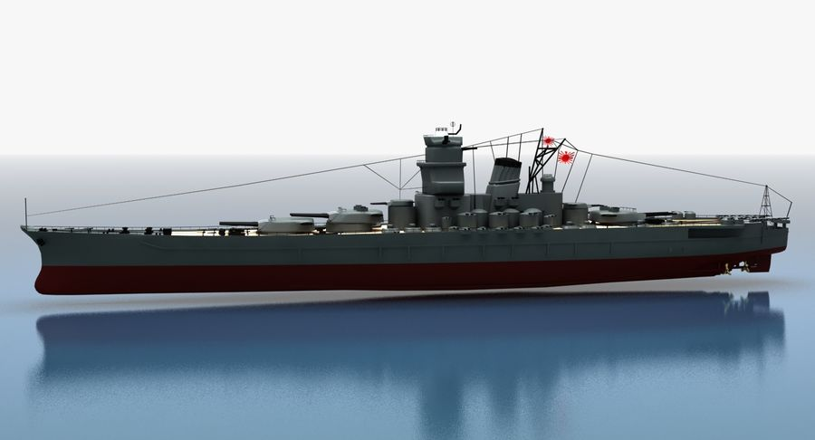 Battleship Yamato royalty-free 3d model - Preview no. 23