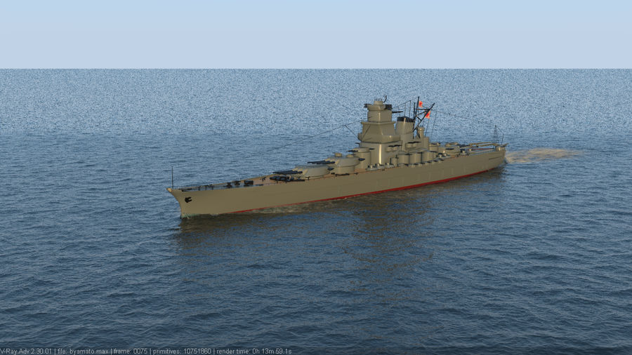 Battleship Yamato royalty-free 3d model - Preview no. 5