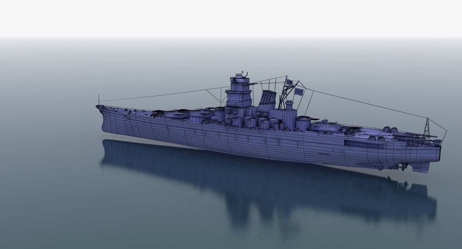 Battleship Yamato royalty-free 3d model - Preview no. 30